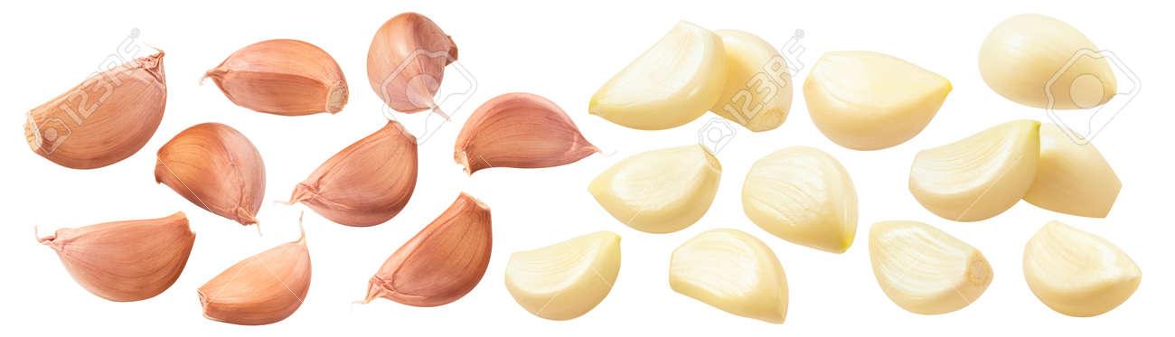 Fresh garlic cloves set isolated on white - 168223497