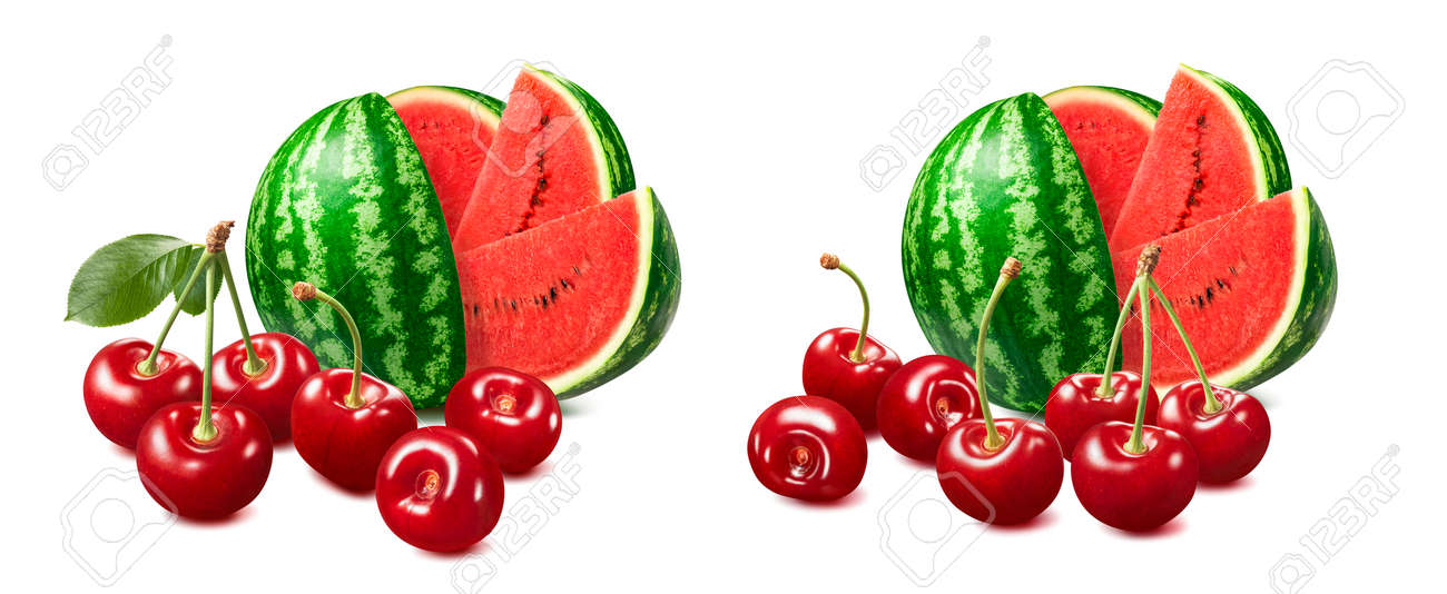 Sweet red cherries and watermelon set isolated on white background. Package design element with clipping path - 171479166
