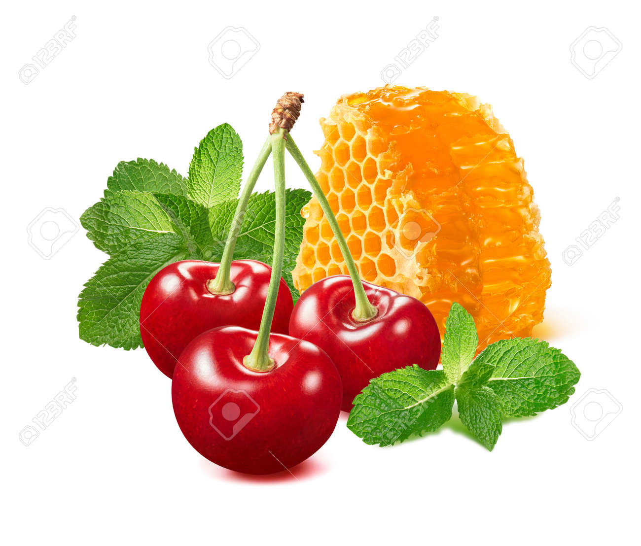 Sweet red cherries, mint and honey. Berries and honeycomb isolated on white background. Package design element with clipping path - 171479168