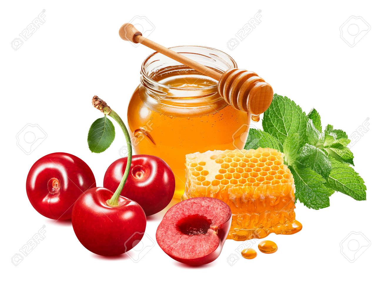 Sweet red cherries, mint and honey. Berries, glass jar and honeycomb isolated on white background. Package design element with clipping path - 172432369