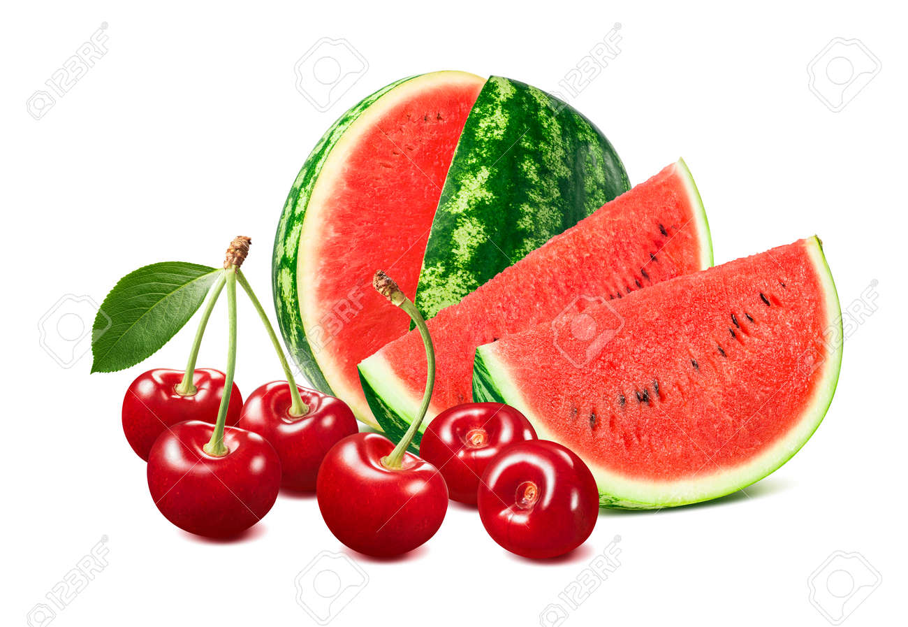 Sweet red cherries and watermelon isolated on white background. Package design element with clipping path - 172432371