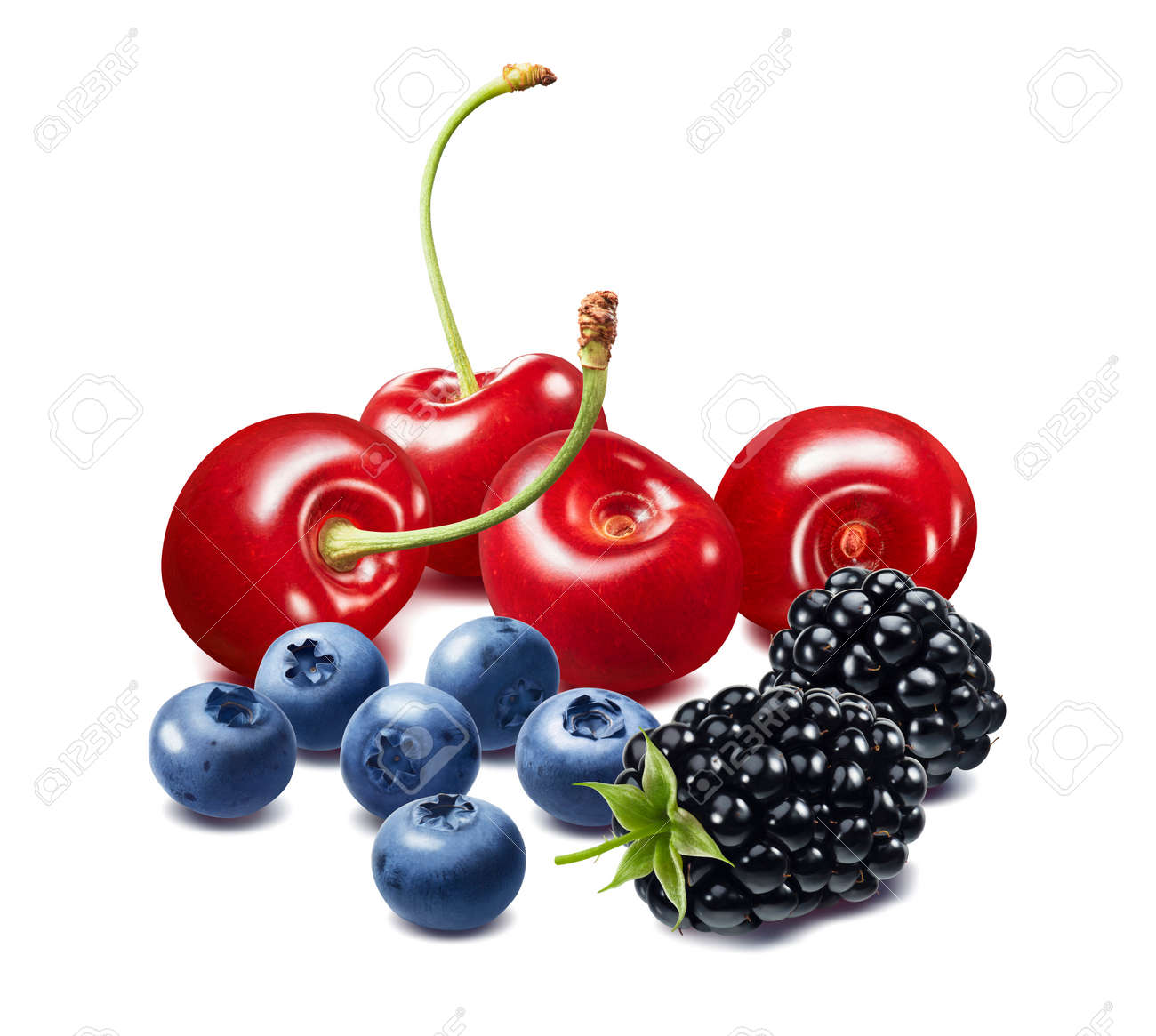 Cherry, blueberry and blackberry berries isolated on white background. Package design element with clipping path - 172432372