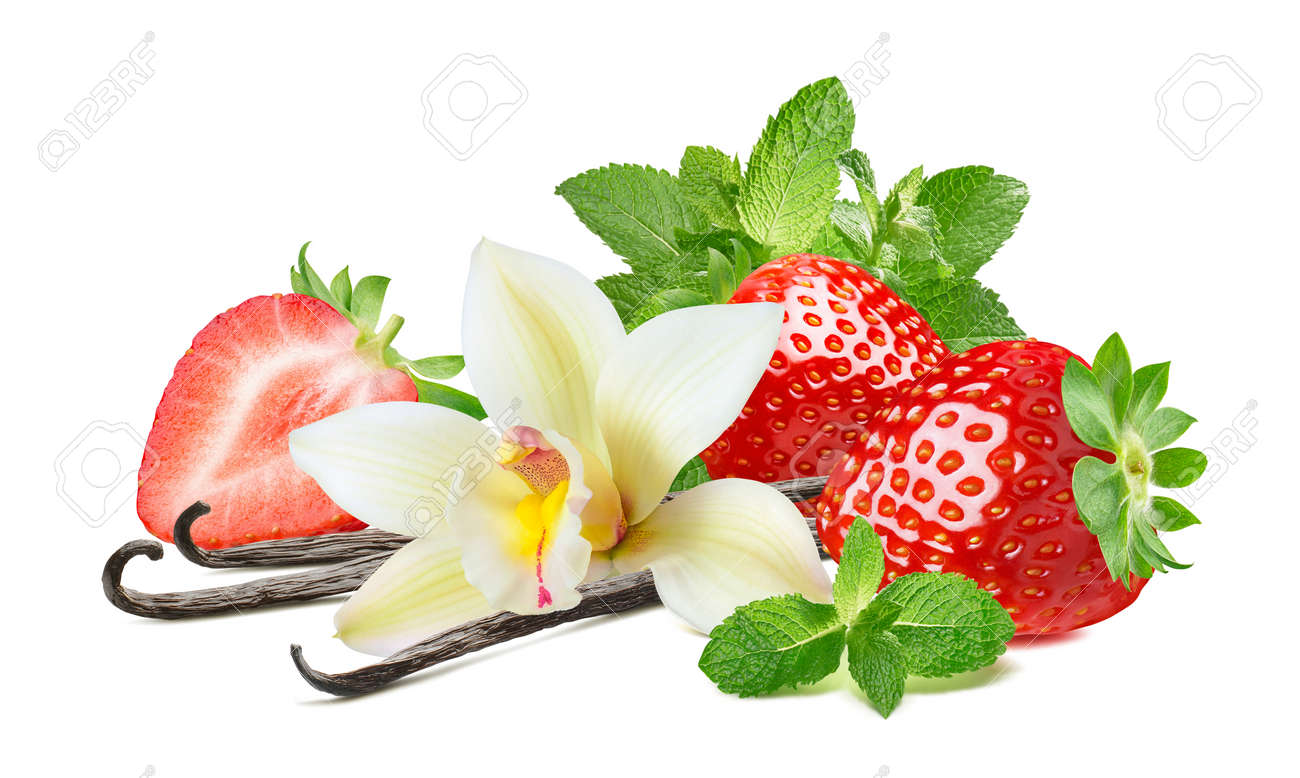 Strawberry, vanilla and mint leaves isolated on white background. Package design element with clipping path - 172432426