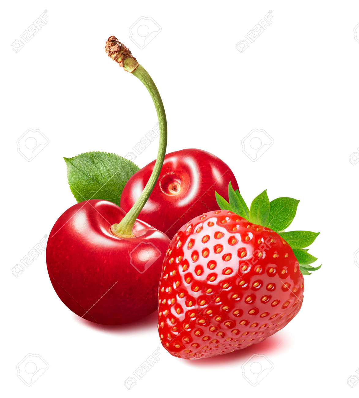 Sweet red cherries and strawberry isolated on white background. Package design element with clipping path - 172432432