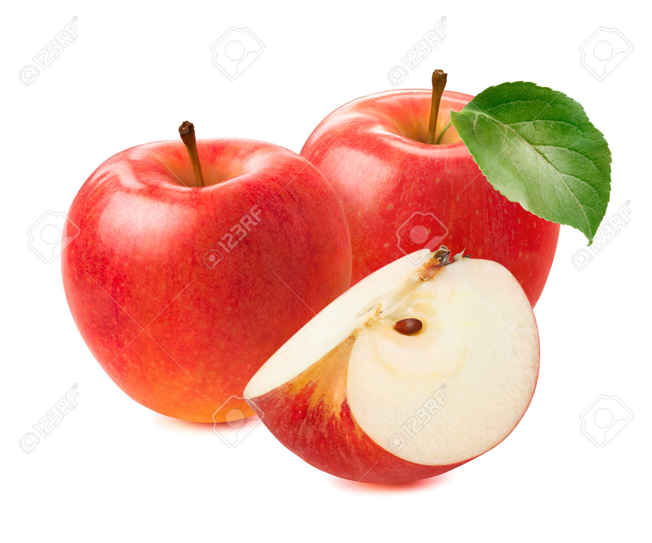 Red apples and slice isolated on white background. - 173414061