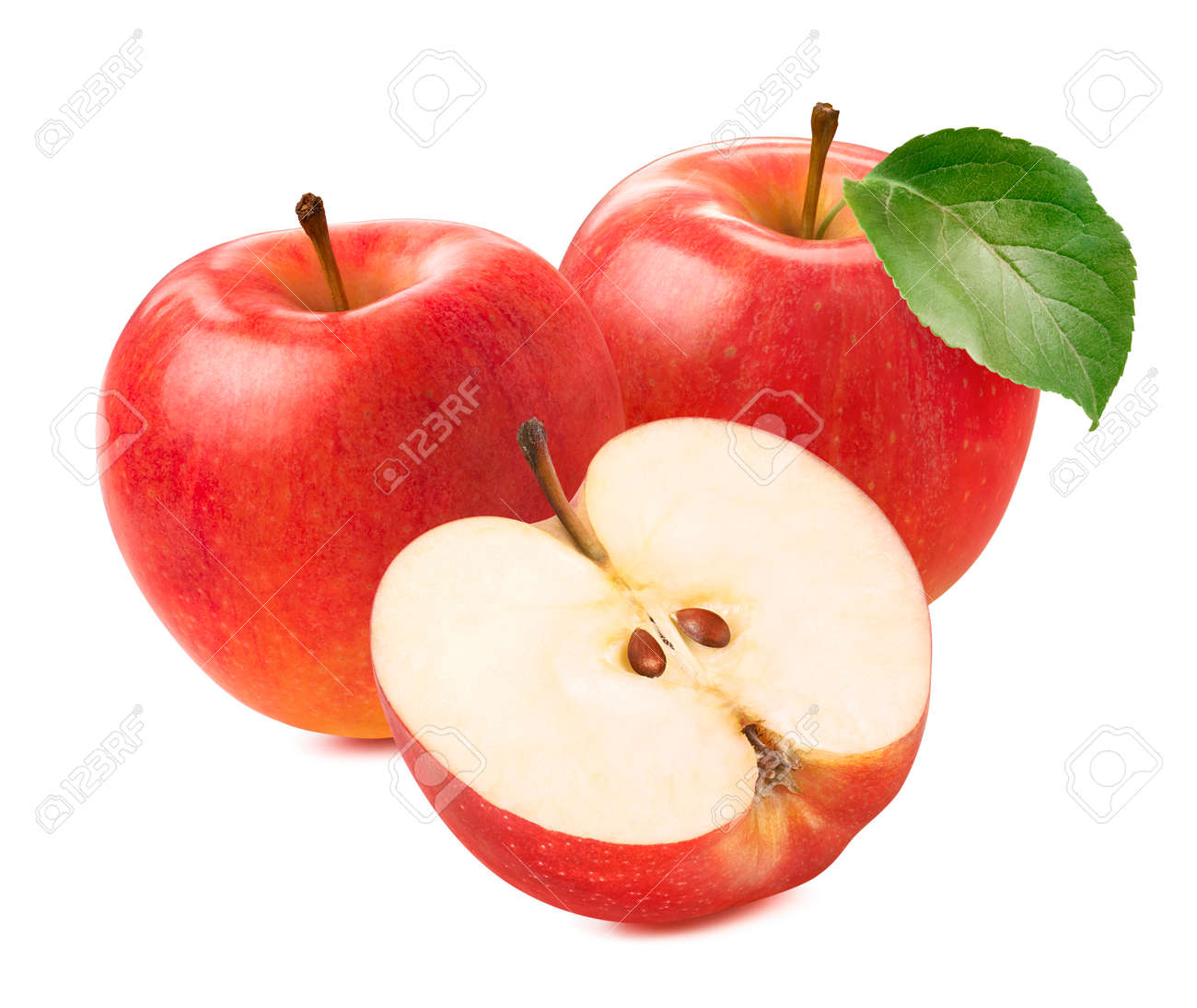 Two fresh red apples and half isolated on white background. Package design element - 173414064