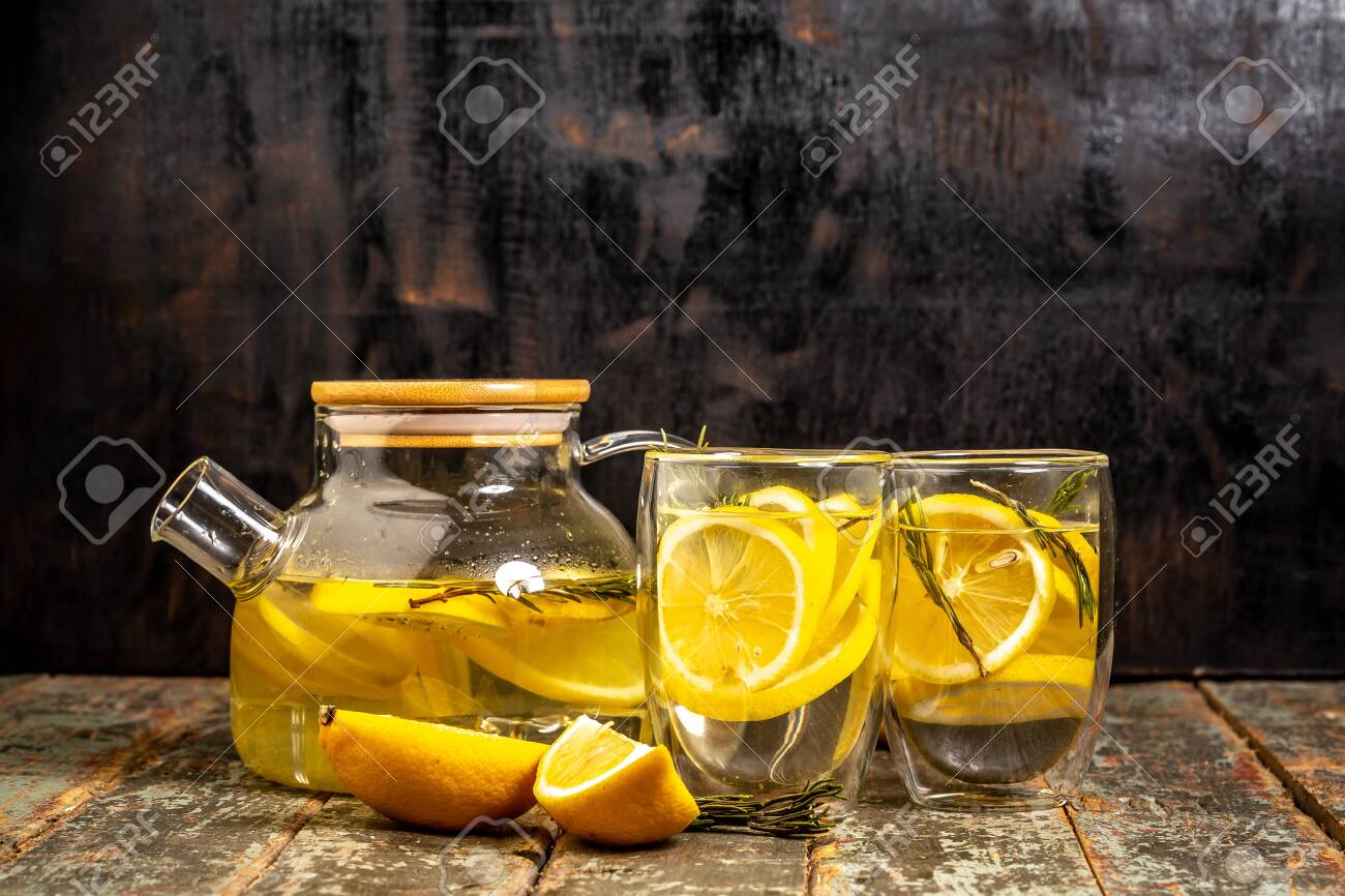 Lemonade With Fresh Lemon On Wooden Background Summer Drink
