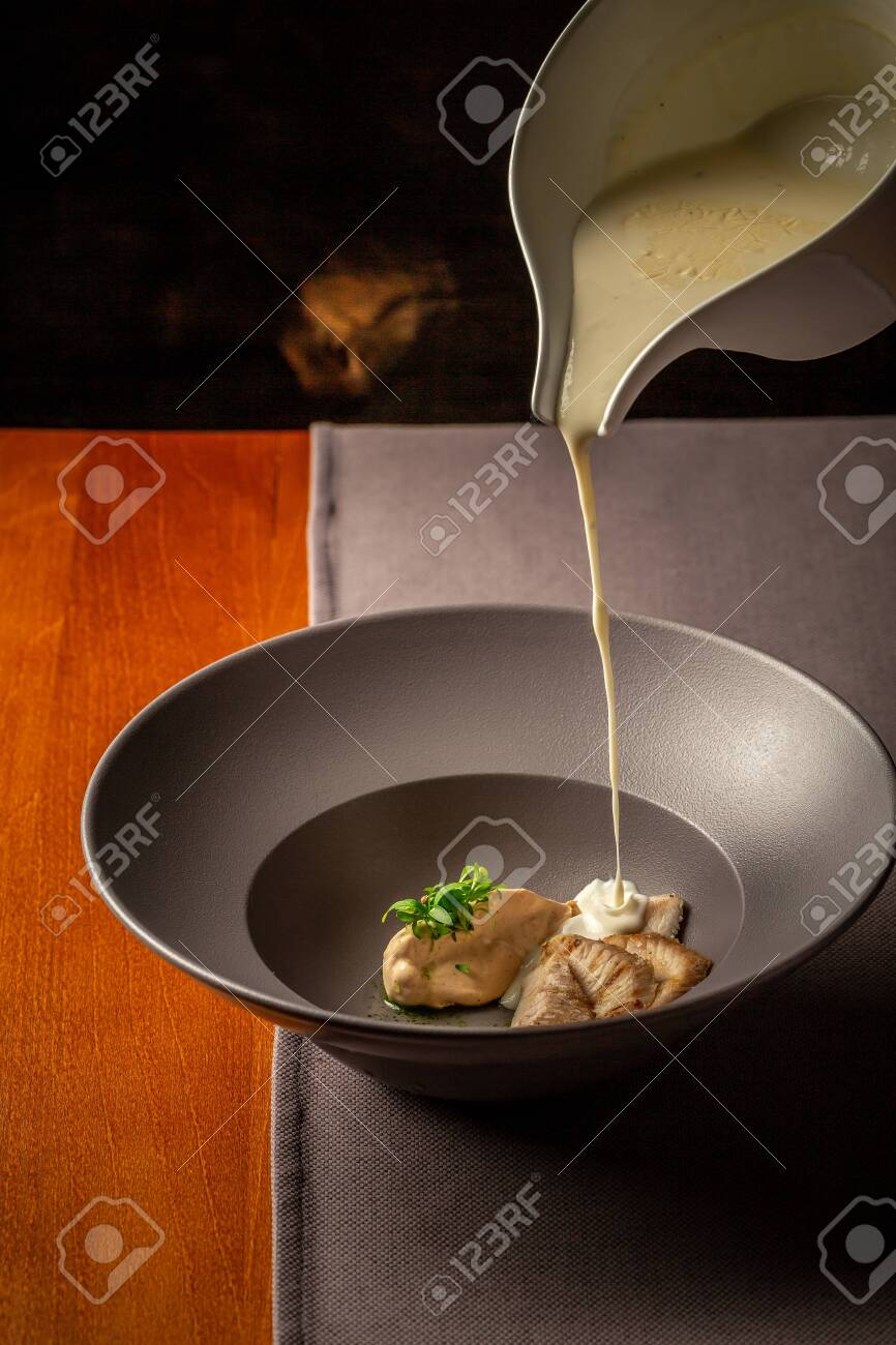 Cheese Soup With Turkey Fillet Restaurant Food Author Menu Stock Photo Picture And Royalty Free Image Image 151370782