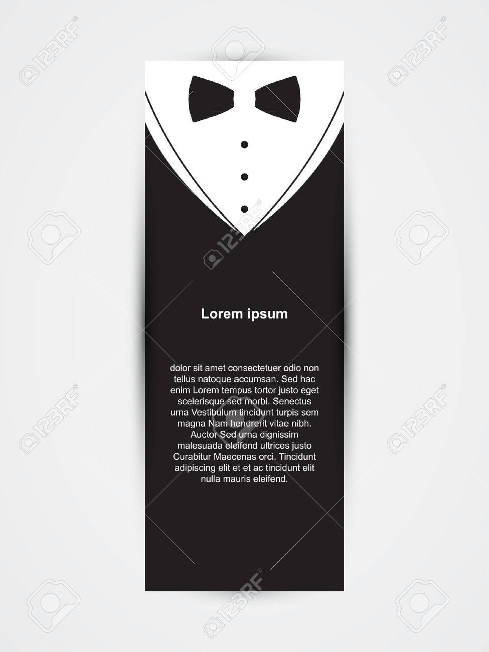 invitation template black design with bow tie royalty free cliparts