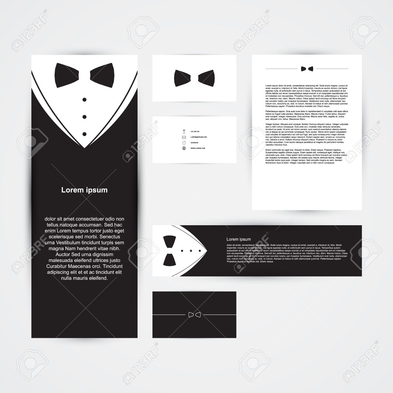 Invitation template black design with bow tie business card invitation template black design with bow tie business card banner vector illustration stopboris Image collections