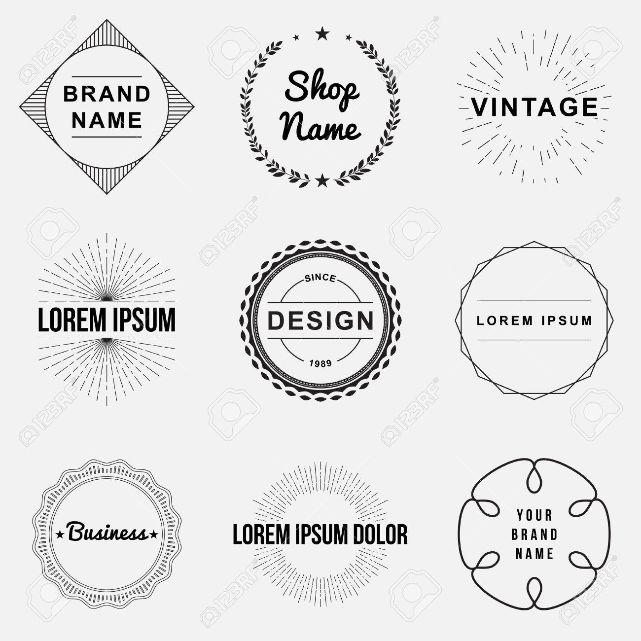 Set of retro vintage badges and label logo graphics. Design elements, business signs, labels, logos, circle design - 34243101