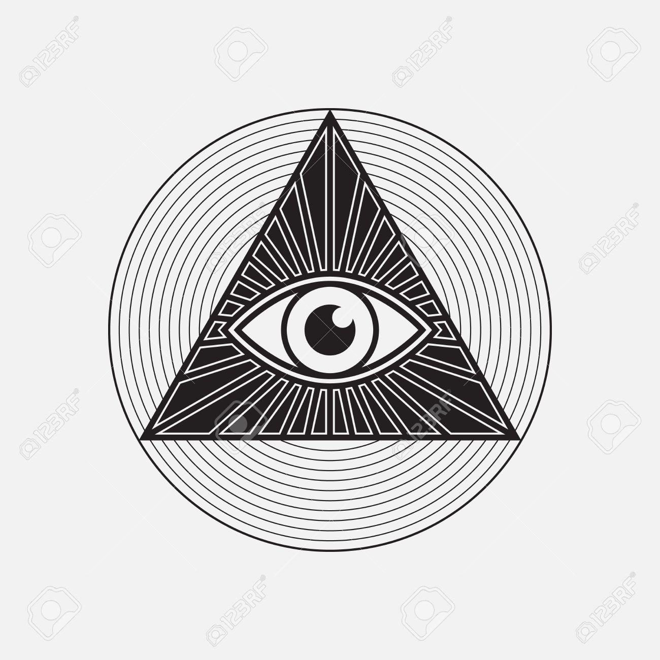 Symbols Of The Illuminati All Seeing Eye And Pyramid Black