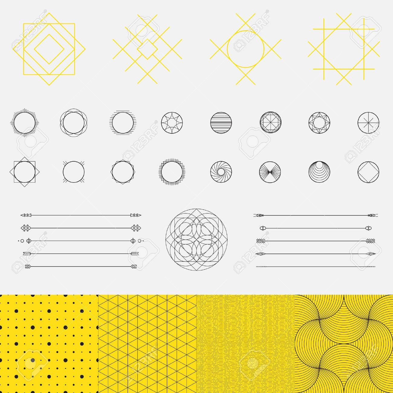 幾何学的図形、三角形、円、パターン、線のデザイン、ベクトルのセット