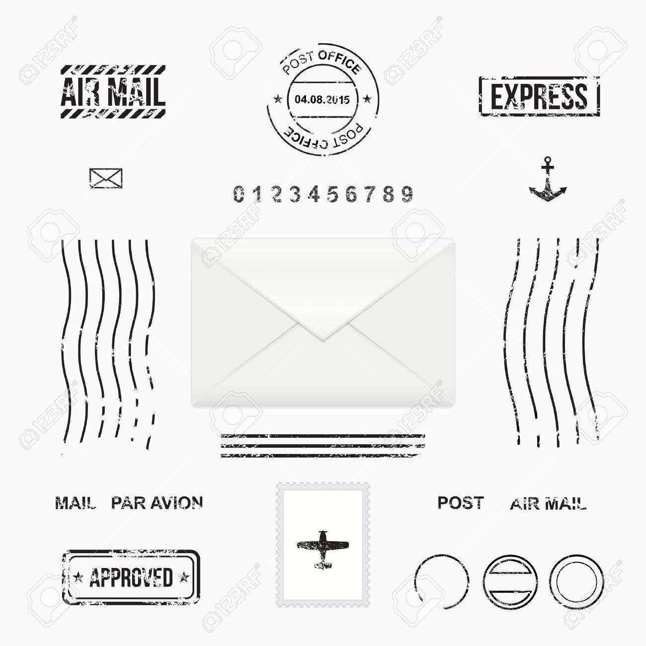 Set of post stamp symbols, mail envelope, vector illustration - 43567936
