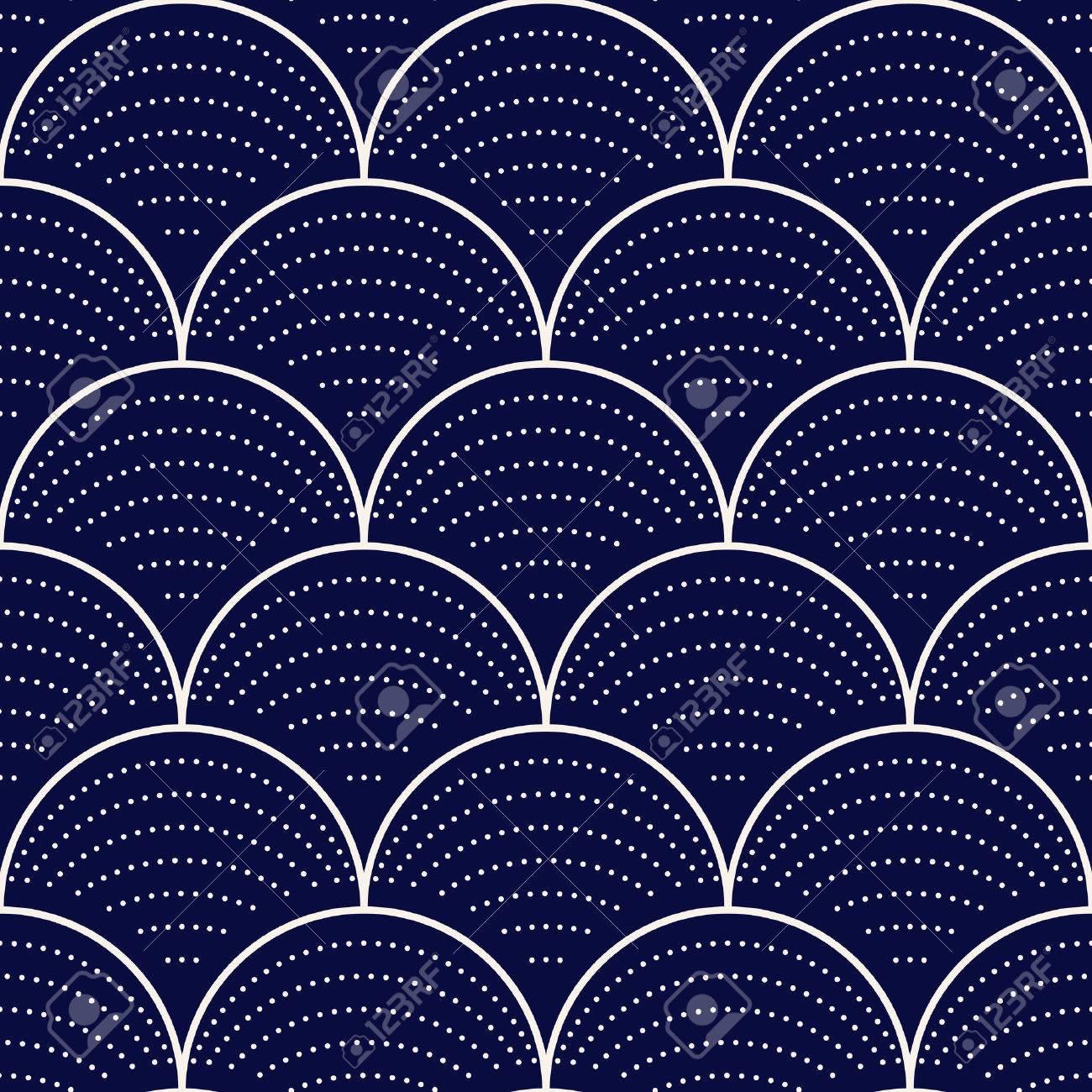 Japanese wave seamless pattern, vector illustration - 55752518