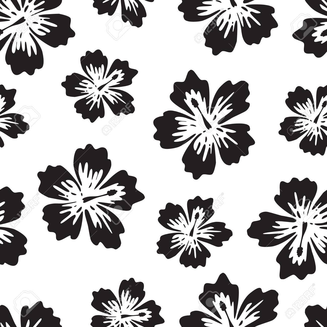 Hibiscus Background Black And White