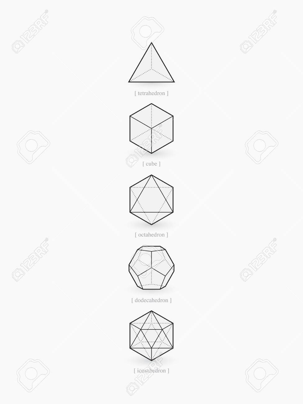 Platonic Solids Line Design Royalty Free Cliparts Vectors And