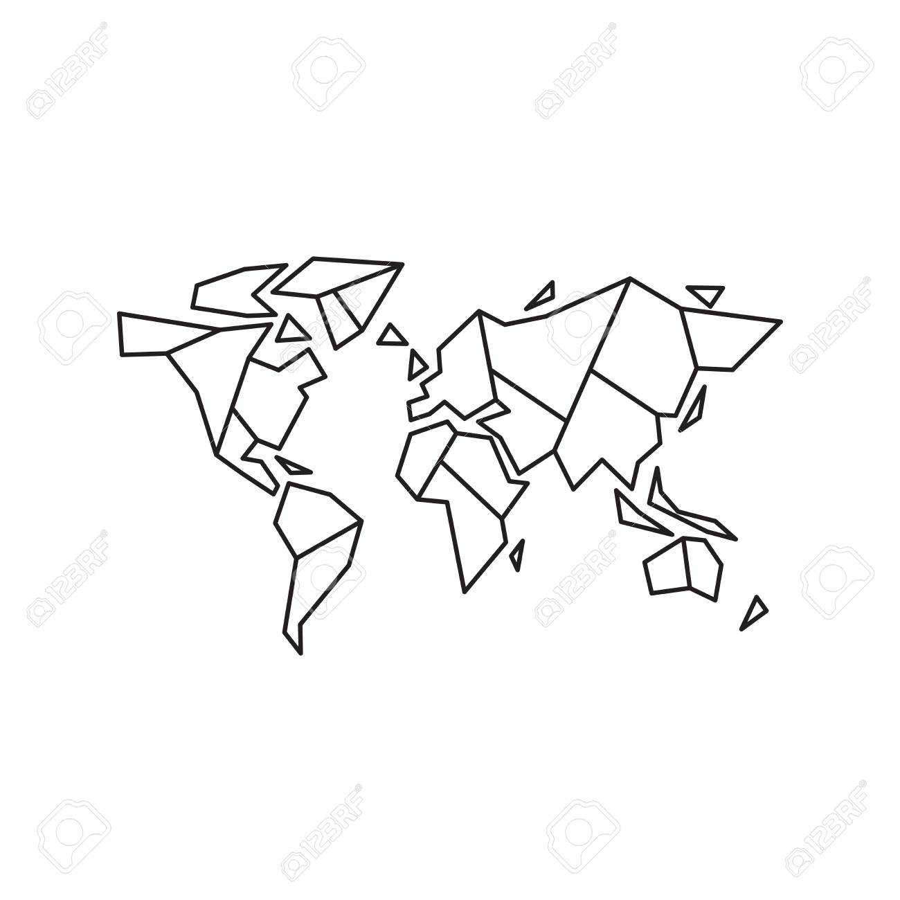 Abstract Geometric World Map Vector Illustration Eps 10 Royalty