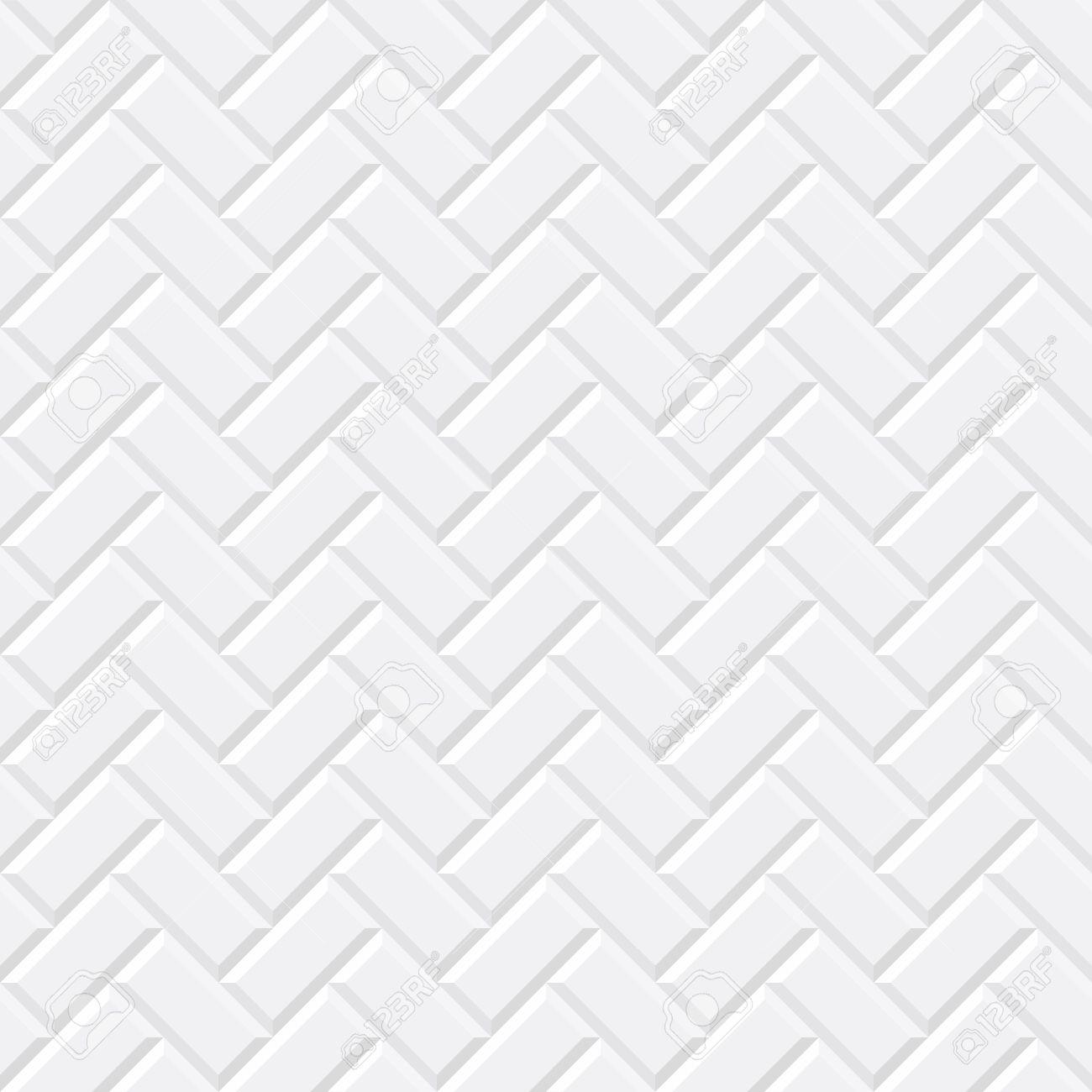 White tiles, ceramic brick. Diagonal seamless pattern. Vector illustration EPS 10 - 66438434