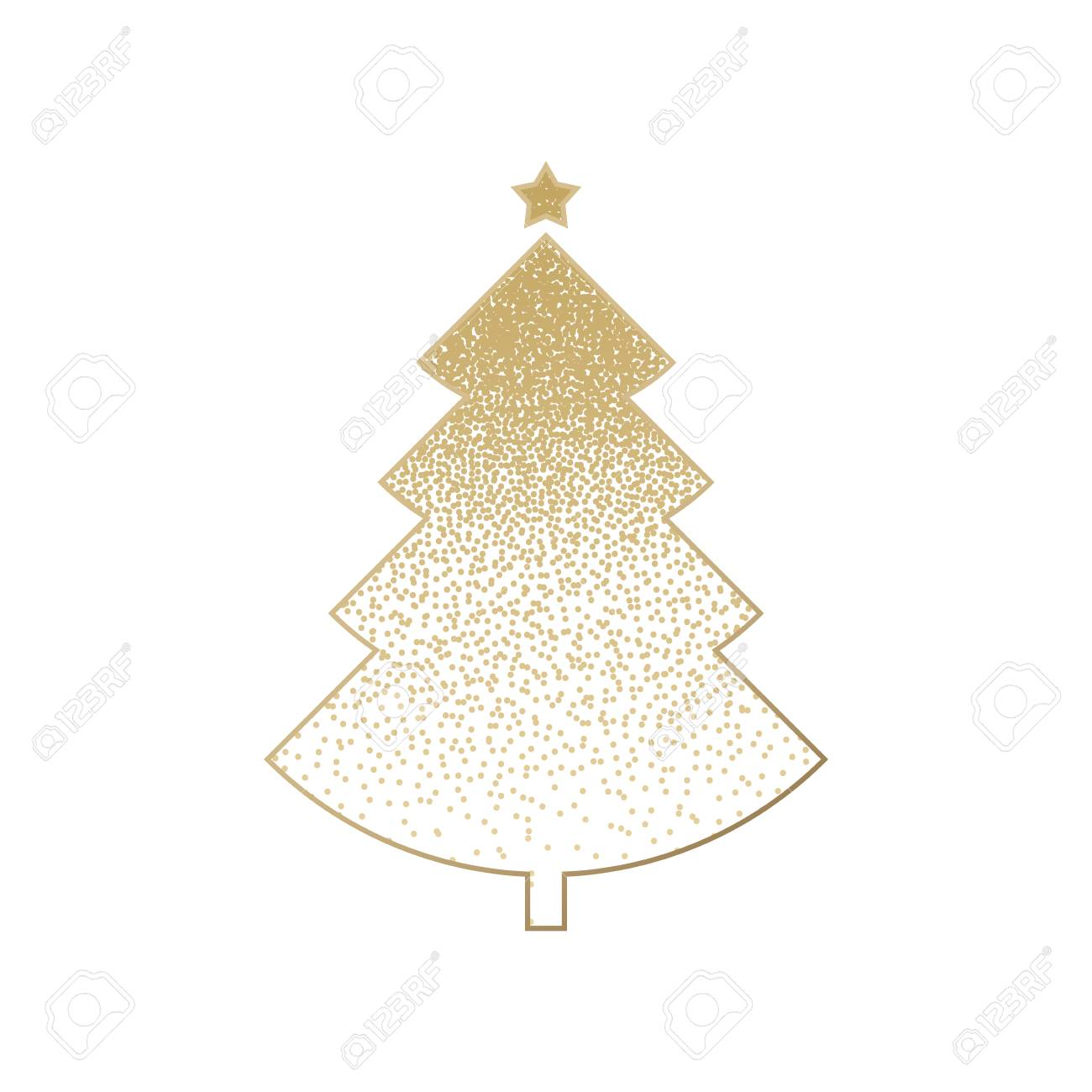 Gold Christmas Tree With Star Isolated On White Background Vector