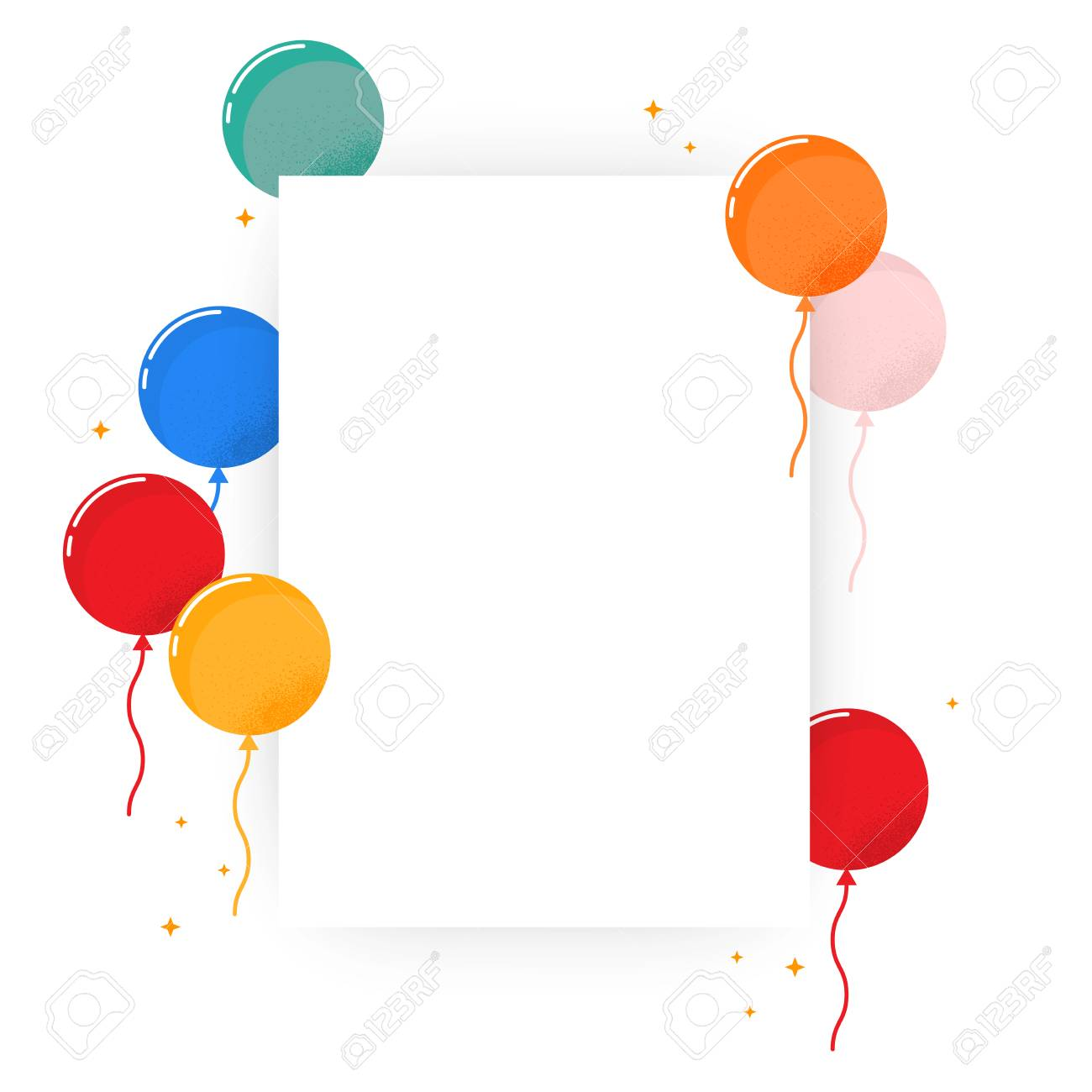 Blank poster with colorful balloon. Simple design, vector illustration isolated on white background. A3 or A4 format - 108521342