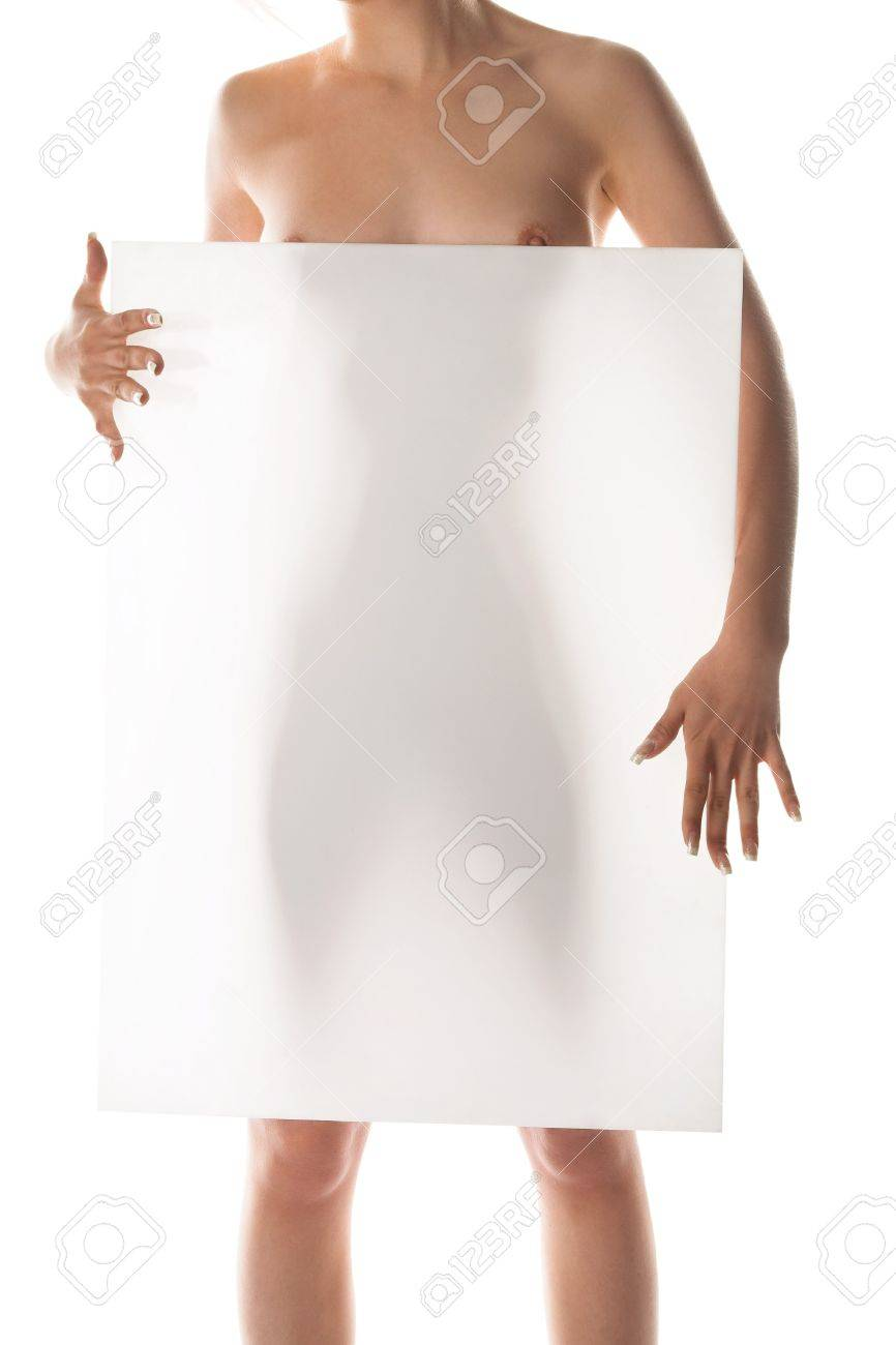 young beauty woman holding white banner Stock Photo - 8206913