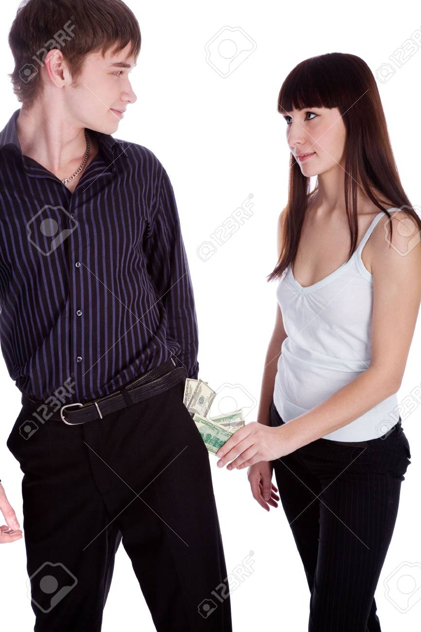 woman taking money from pocket Stock Photo - 8696783