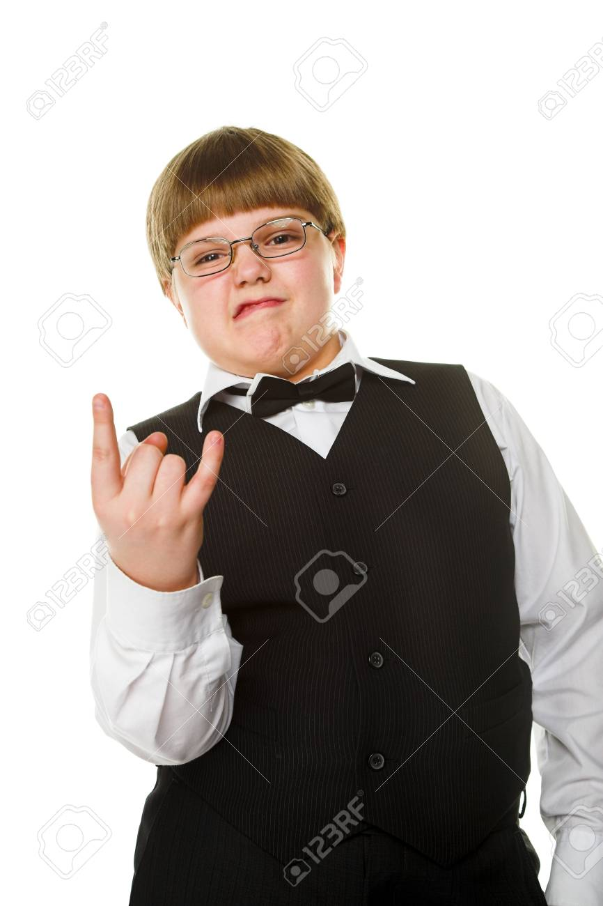 young businessman giving gesture isolated on white Stock Photo - 9785685