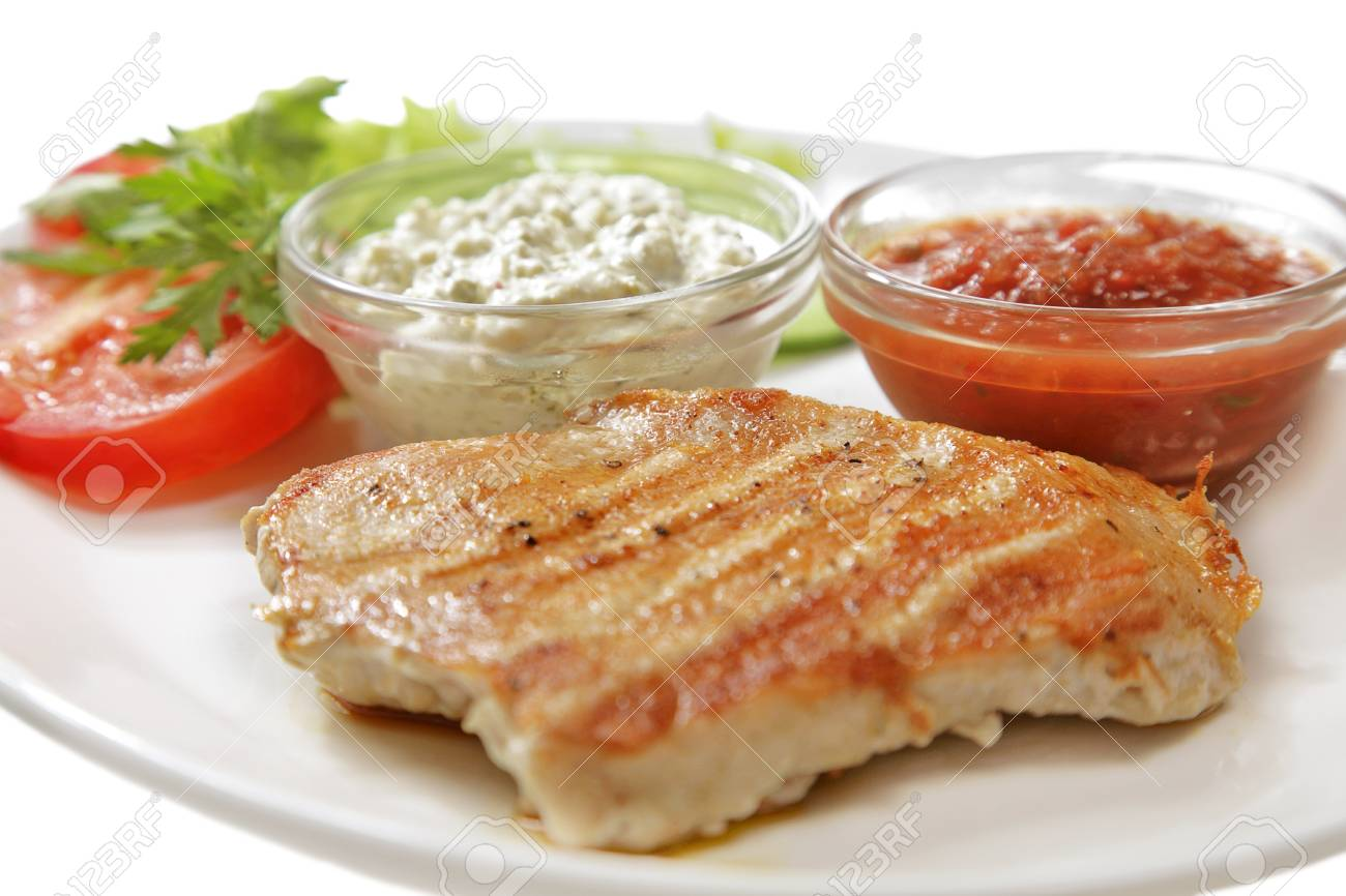 grilled meat isolated on the white background - 10043086