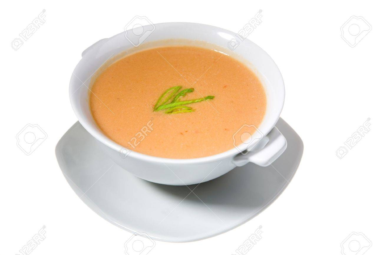 thick soup in white bowl isolated on white background - 10102467
