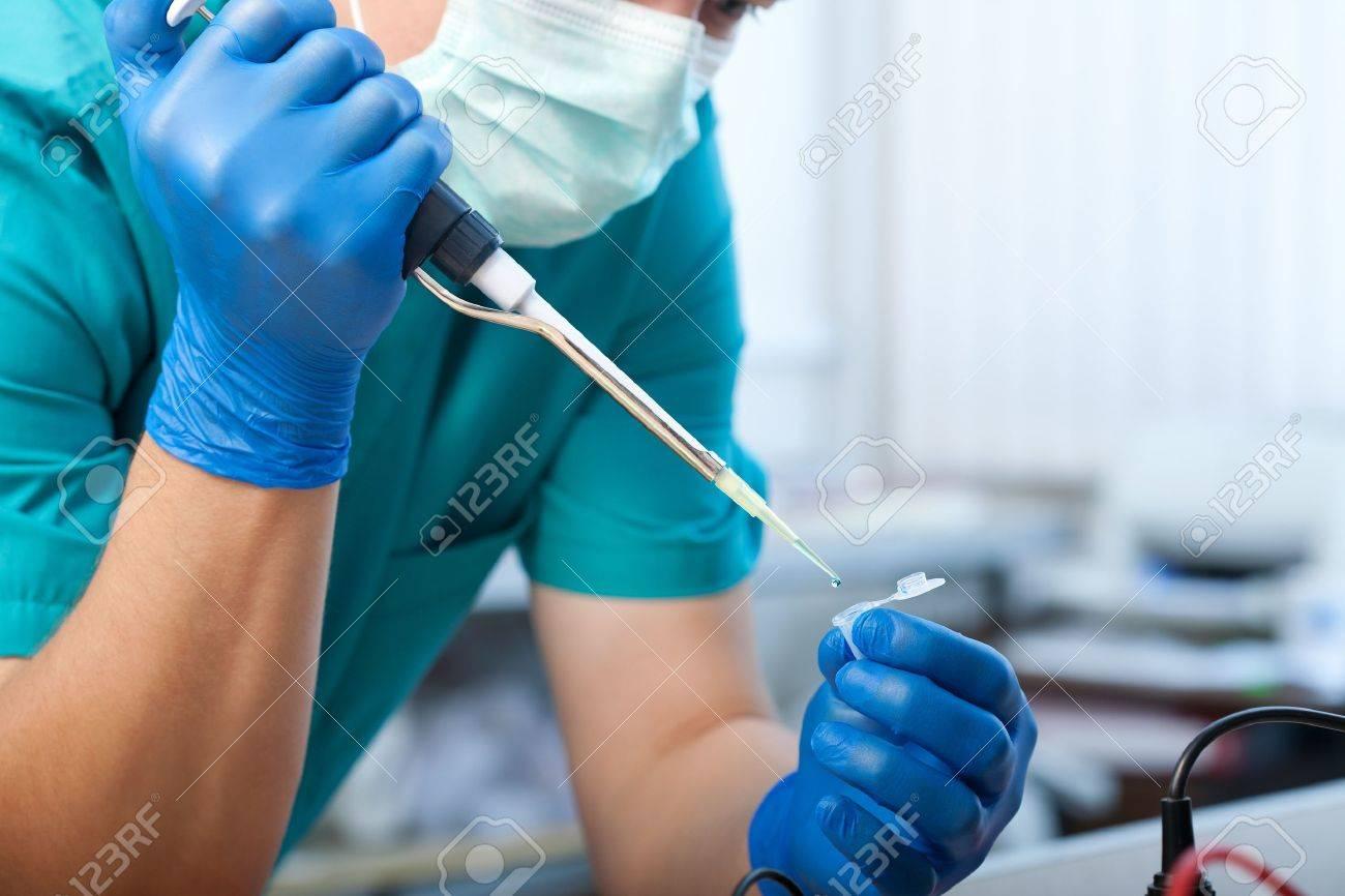 workplace modern laboratory for molecular biology test - 12184686