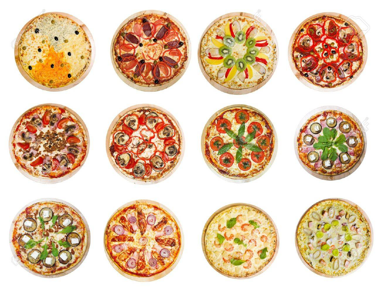 twelve different pizzas put in one set - 12539291
