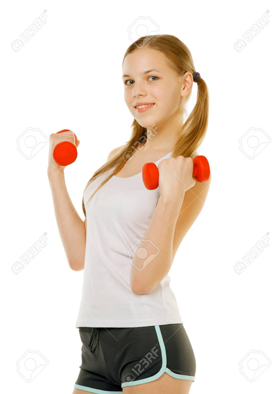 beauty girl with dumbbells isolted on white Stock Photo - 13382053