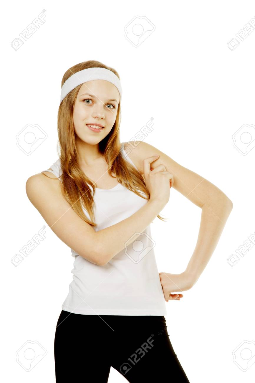 beauty girl in sportswear isolated on white Stock Photo - 13732902