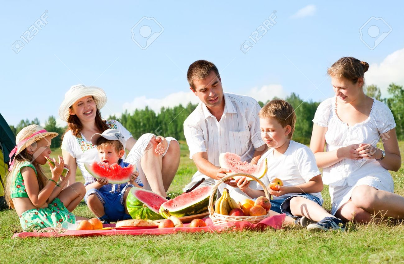 happy family have a picnic outdoor - 14578907
