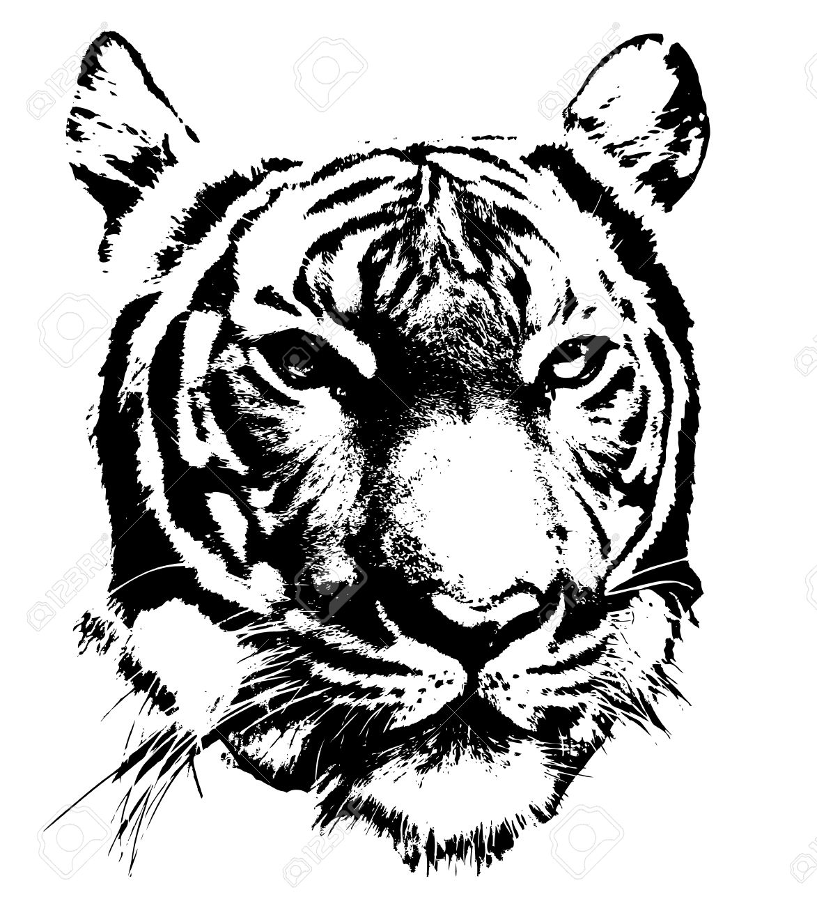 black and white silhouette of a tiger s face royalty free cliparts