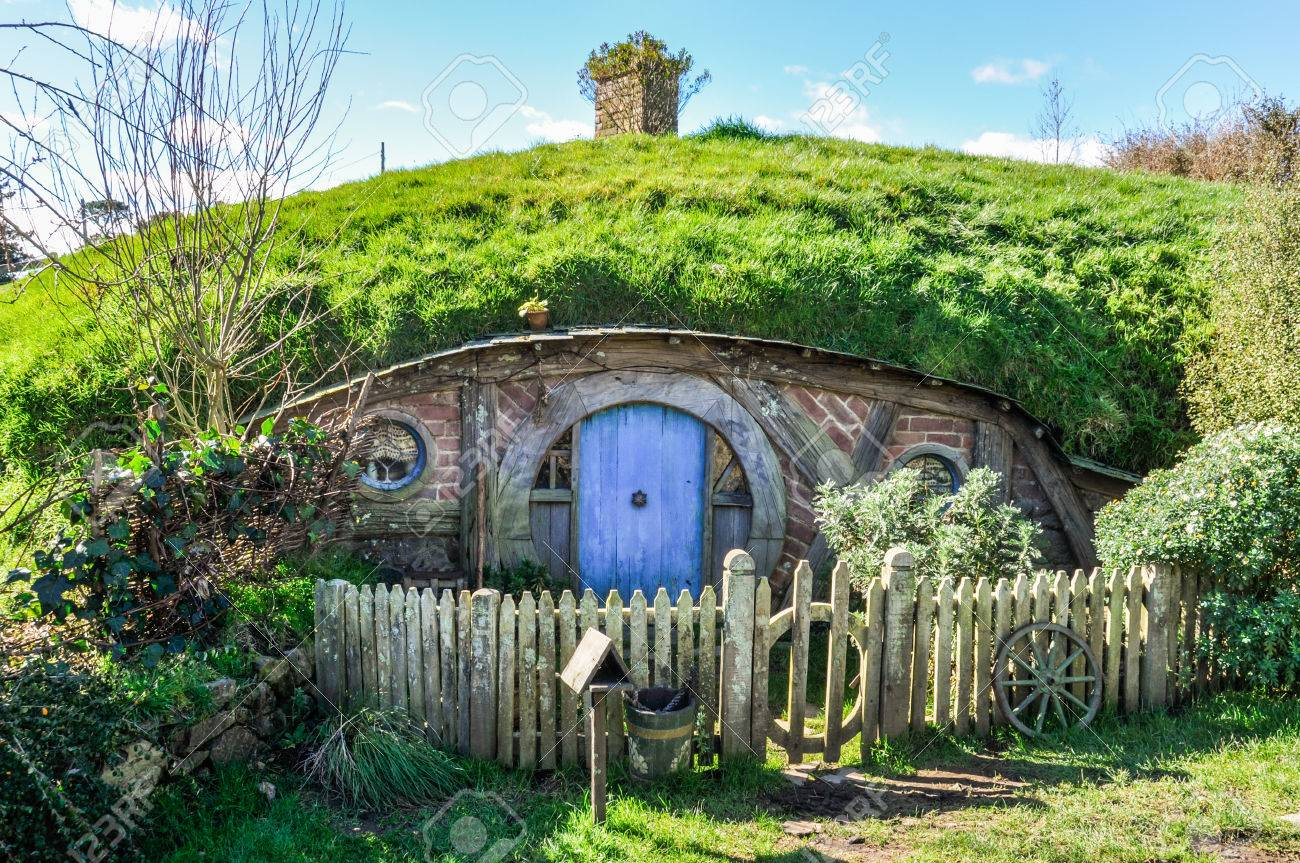 Hobbit House in Lord of the Rings location Hobbiton, Matamata, New Zealand  Editorial