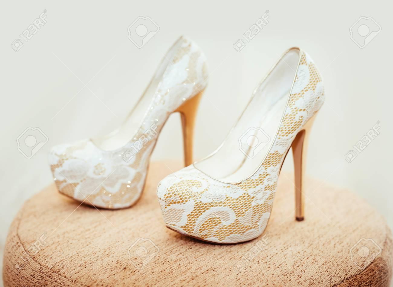 White Shoe Of The Bride . Wedding Theme Background. Stock Photo ...