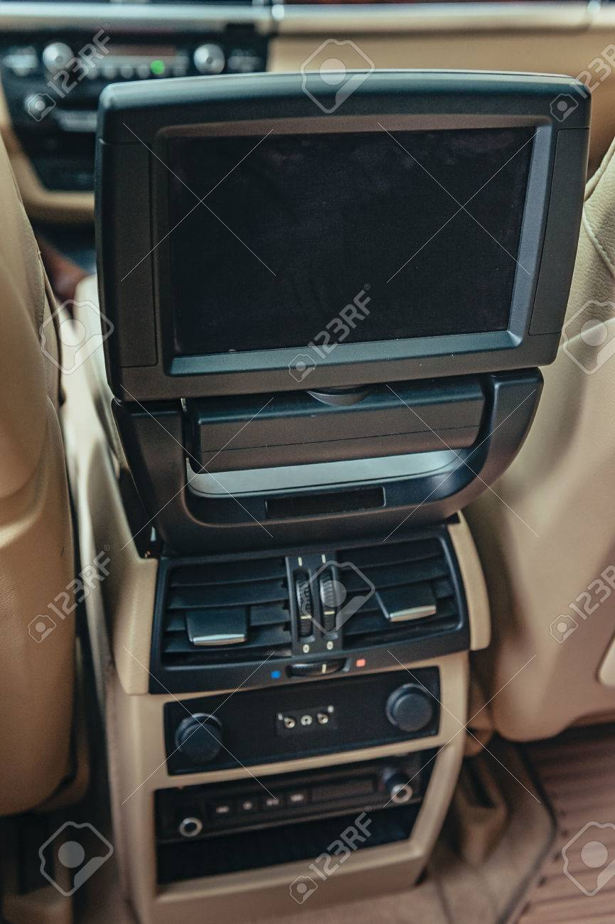 Television Inside A Car. Monitor Car Rear Seat. Small Tv Led.. Stock ...