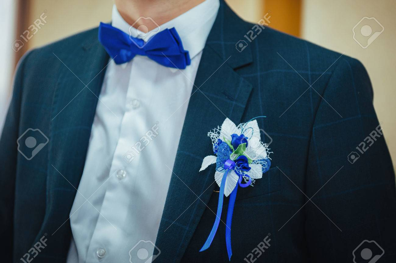 Groom\'s Boutonniere. Wedding Boutonniere On Suit Jacket Of Groom ...