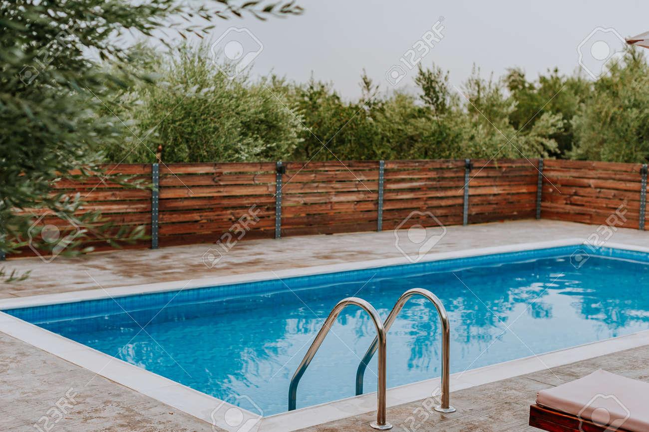 Swimming pool at luxury villa, Crete, Greece - 155651390
