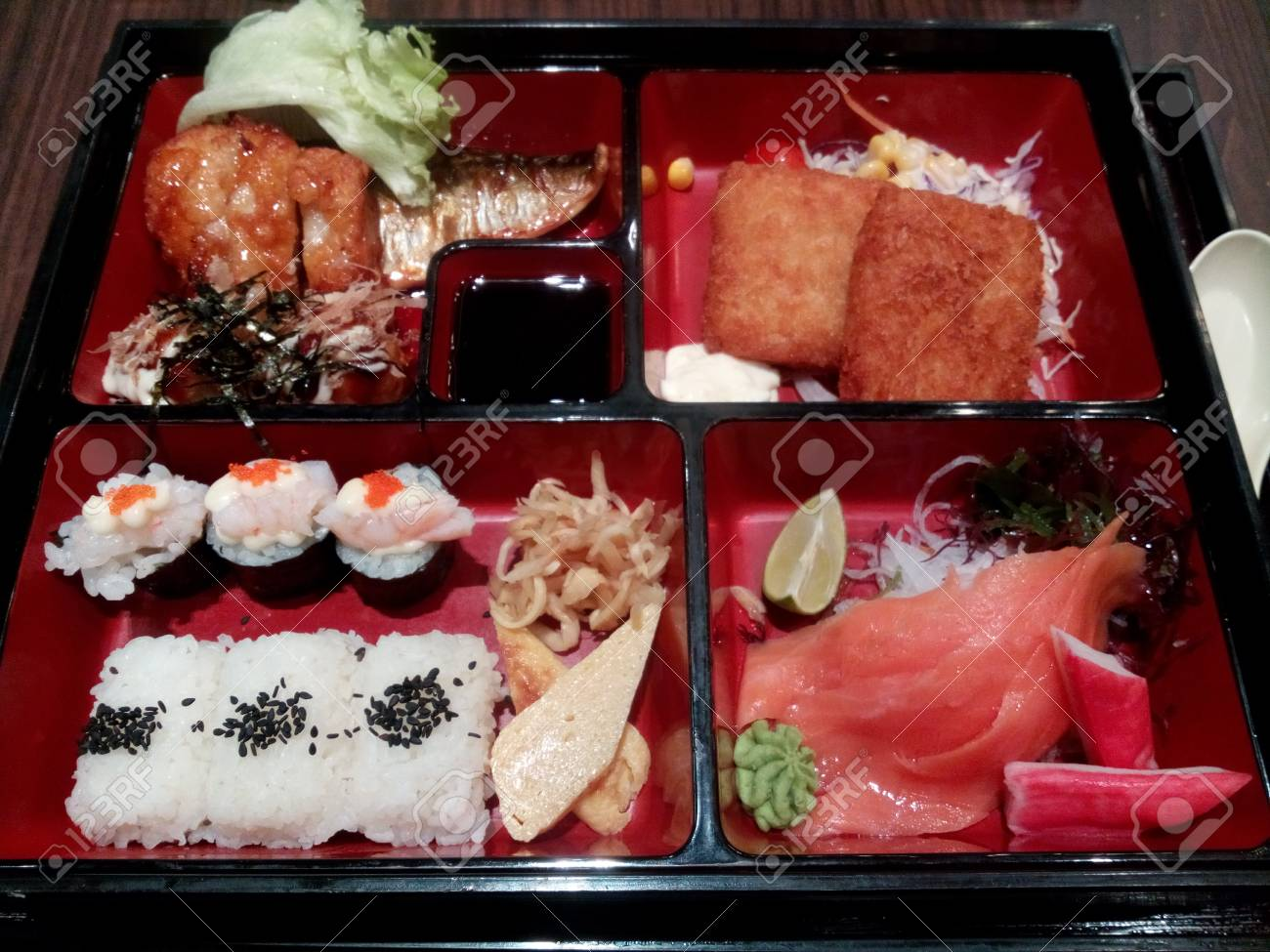 Closeup Delicious Japanese Bento Box Ready To Eat Stock Photo