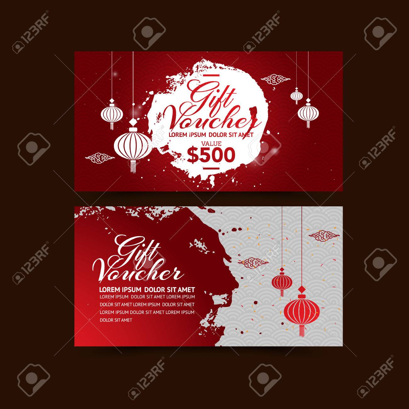 chinese new year gift voucher design template royalty free cliparts