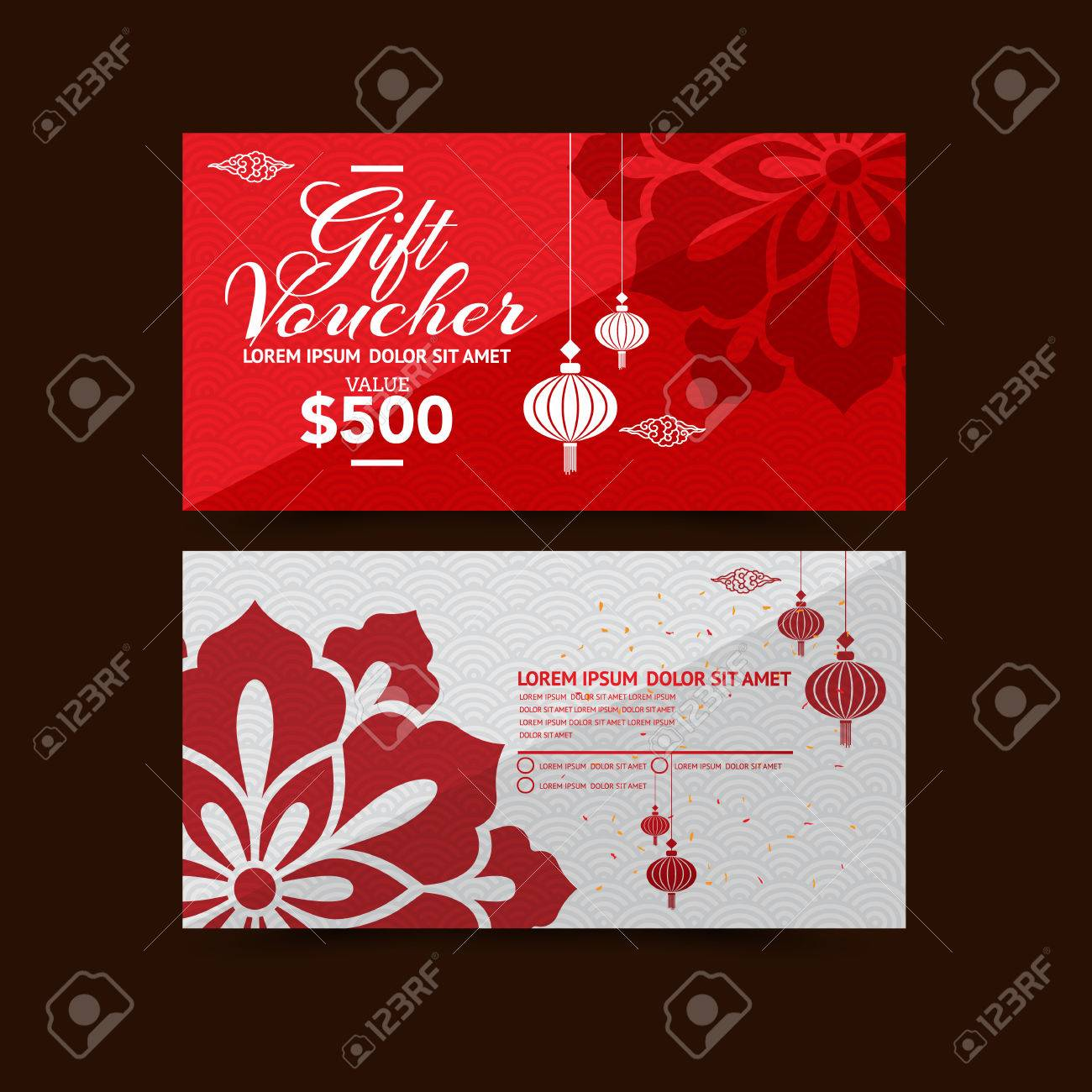 Chinese New Year Gift Voucher Design Template Royalty Free Cliparts ...