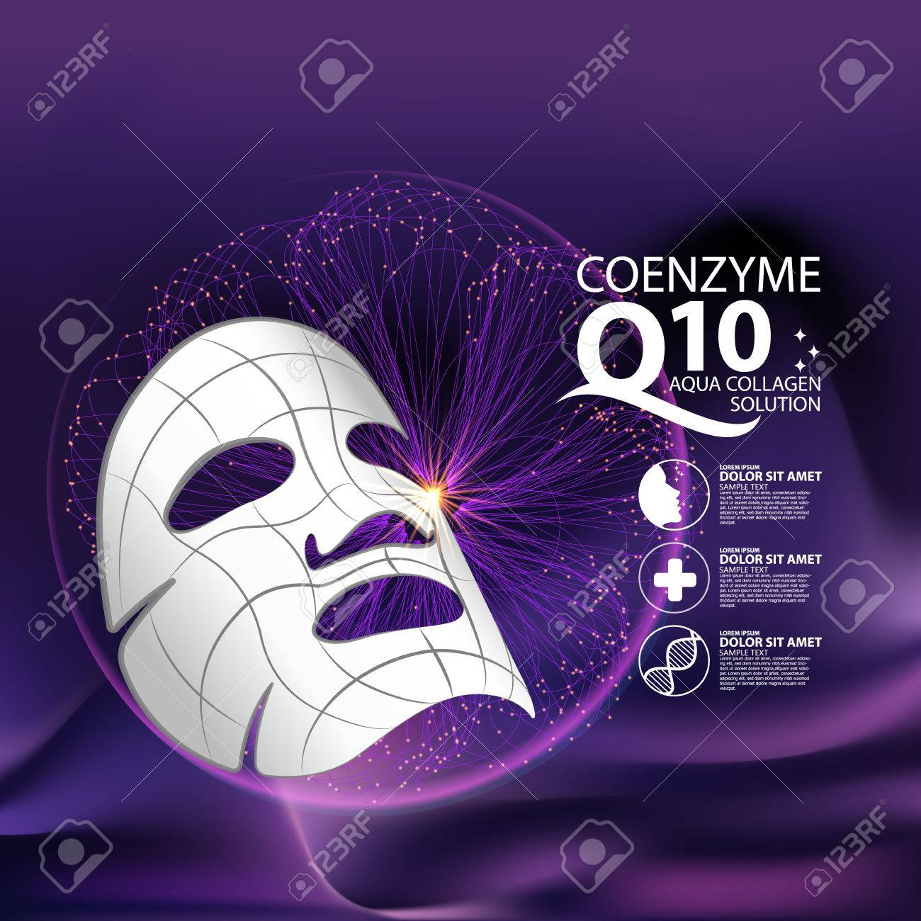 coenzyme q10 Mask Serum and Background Concept Skin Care Cosmetic. - 60113006