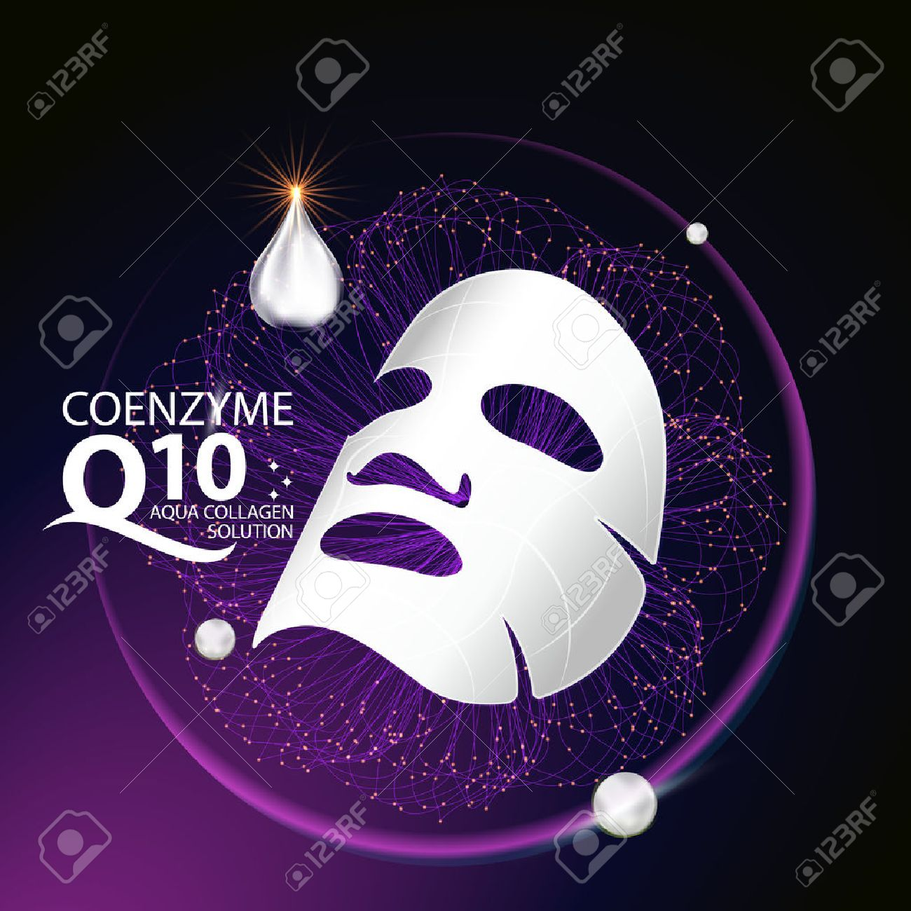 coenzyme q10 Mask Serum and Background Concept Skin Care Cosmetic. - 60113014