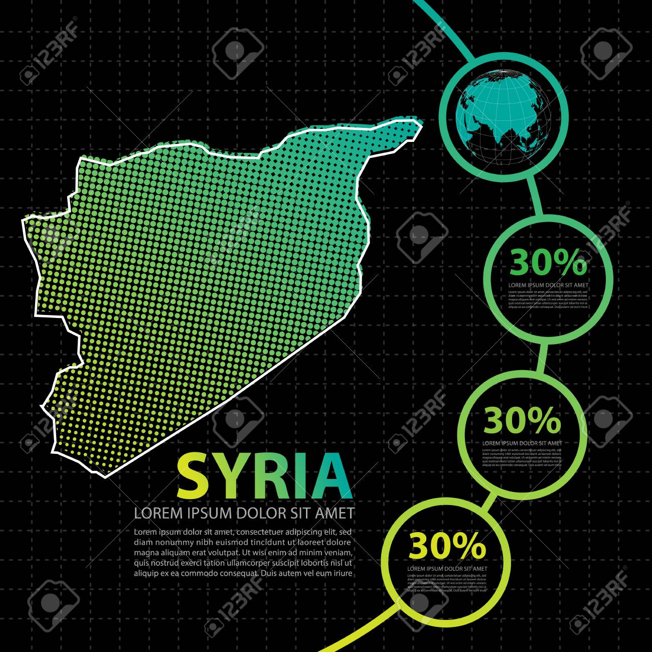 Syria Map Infographic Design Template Stock Vector