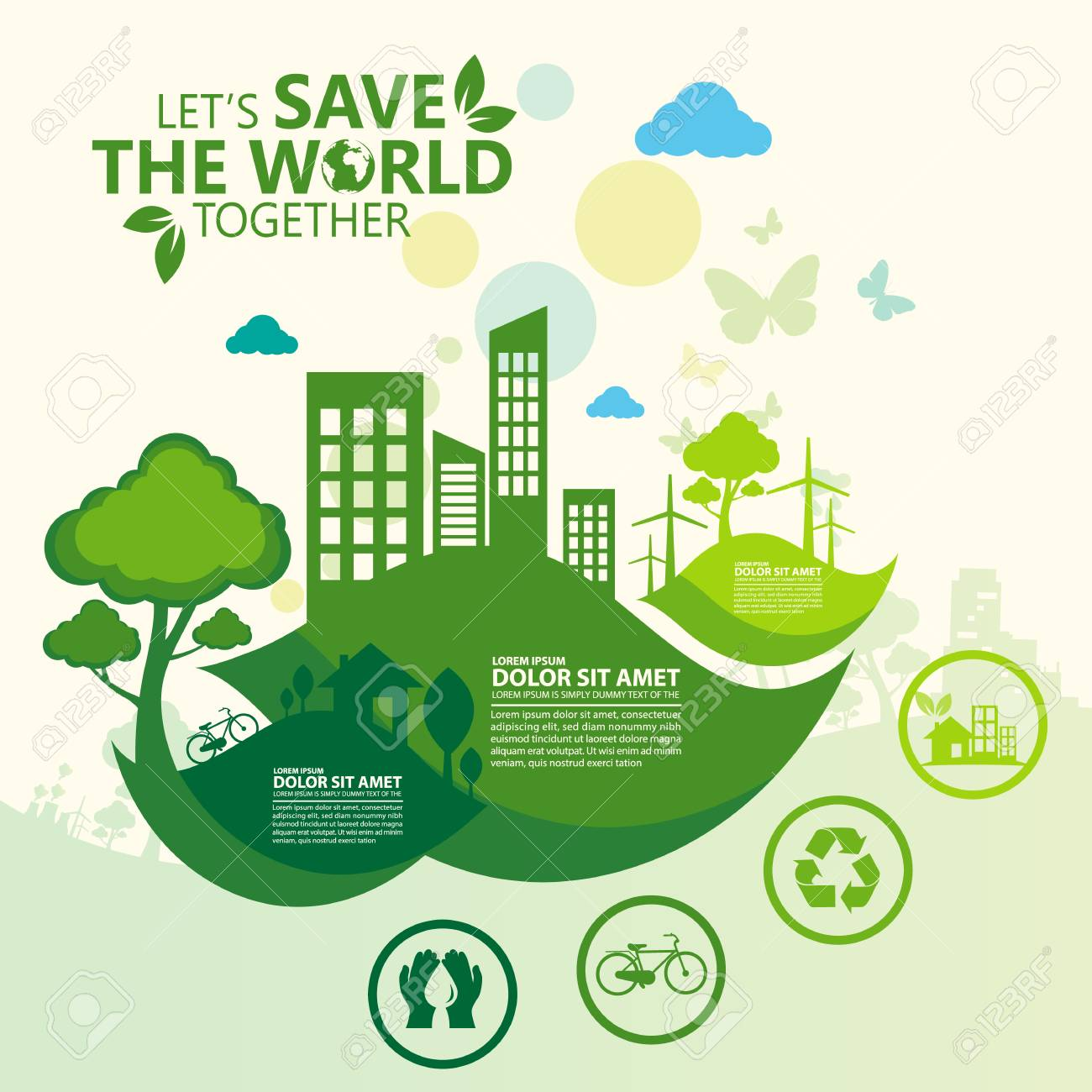 Environment Let S Save The World Together Royalty Free Cliparts
