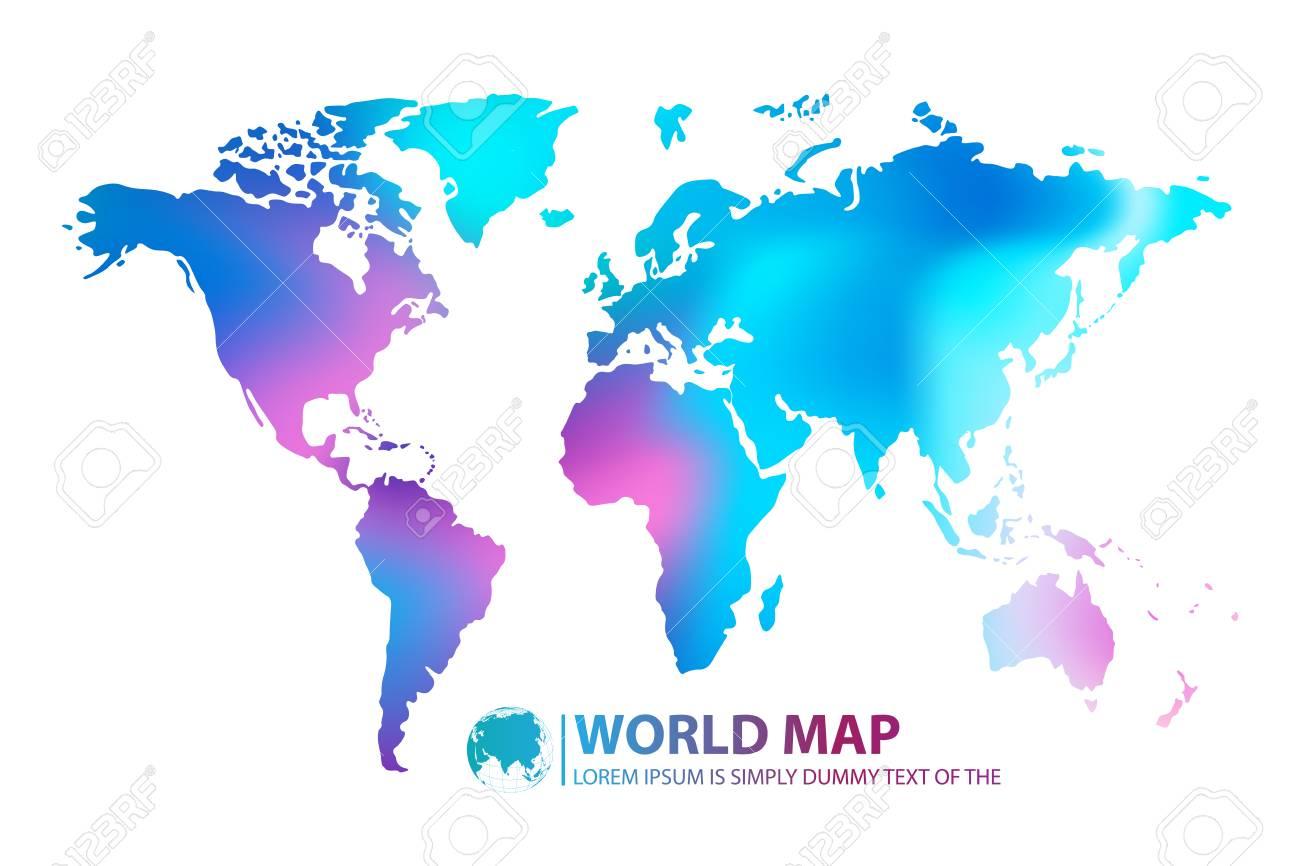 Modern Digital World Map Globalization Concept Vector Illustration