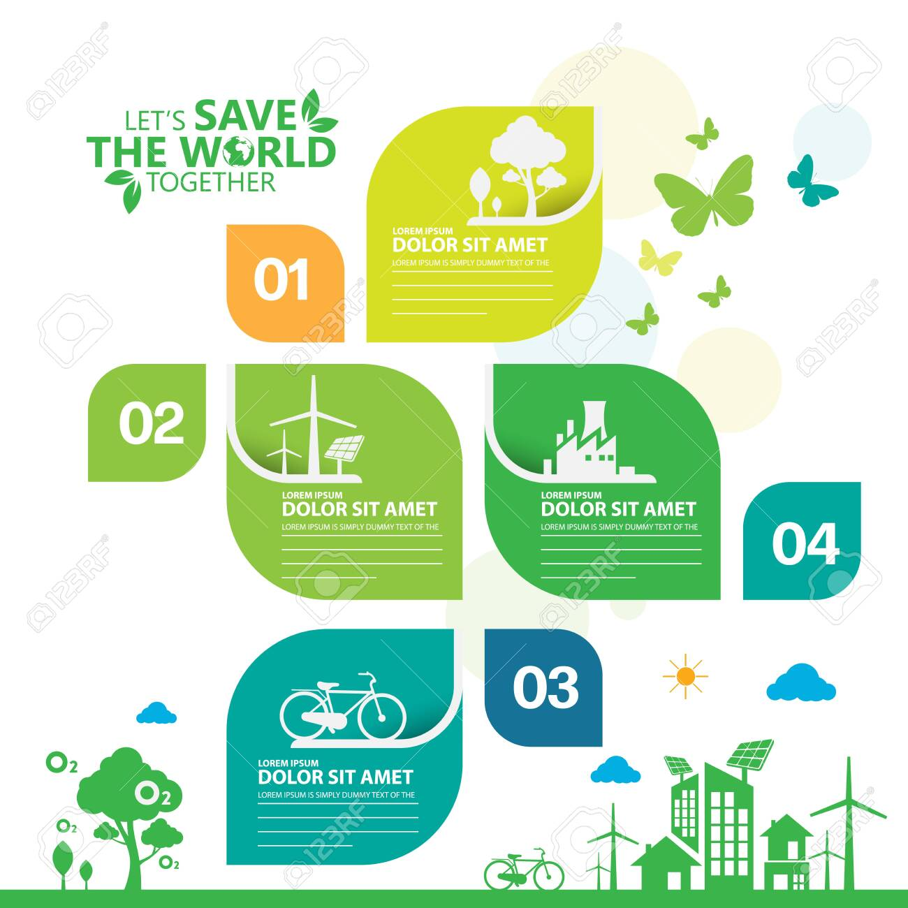 Ecology.Green cities help the world with eco-friendly concept ideas.info graphic template vector illustration - 154392336